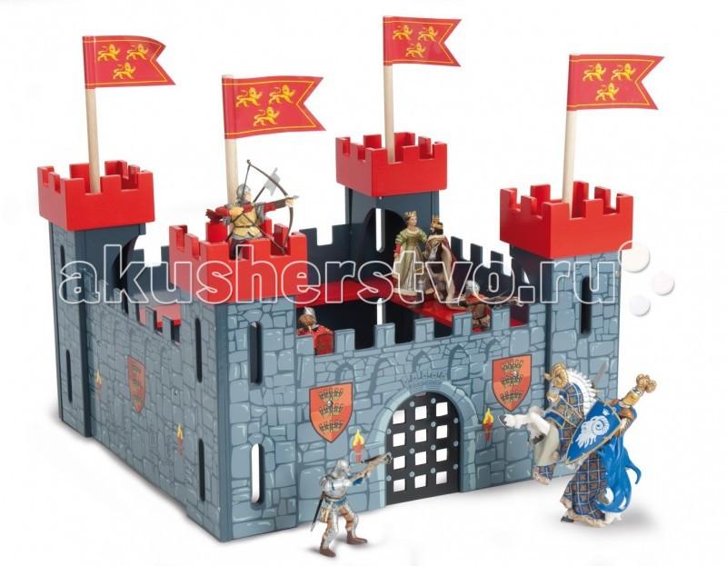 LeToyVan Мой первый замокМой первый замокLeToyVan Мой первый замок - синий.  Выполненный из дерева игровой набор Мой первый замок - будет очень хорошим подарком для любого мальчишки. С его помощью рыцари, волшебники, драконы и другие сказочные персонажи легко обживут эту волшебную страну. А в перерывах между играми все герои сражений смогут мирно отдыхать за высокими и неприступными стенами. У замка четыре смотровые башни синего цвета с флагами. Внутреннее пространство замка имеет галереи на стенах. Ворота, с двух сторон от которых изображены рыцарские гербы и горящие факелы.  Стены замка разукрашены под камень. Замок легко собирается. Набор упакован в красивую подарочную коробку. Яркие цвета, высококачественная обработка деталей, глянцевая поверхность игрушек, высокие стандарты безопасности и качества.Прекрасно сочетается с деревянными куклами Budkins или фигурками фирмы Papo. Продаются отдельно.<br>