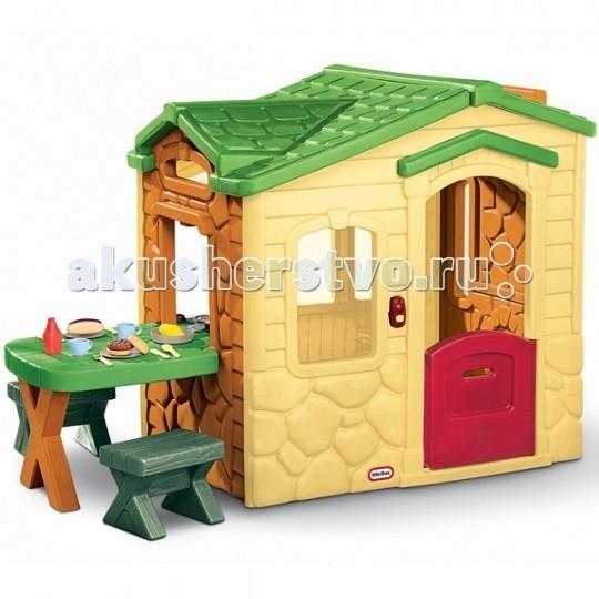 Little Tikes Игровой домик Пикник 172298Игровой домик Пикник 172298Игровой домик Пикник  Красочный игровой домик «Пикник» станет отличным местом для игр! Он хорошо впишется в ландшафт дачного участка.  Домик вмещает в себя множество игровых возможностей. С внешней стороны, прямо под окном, расположен столик для пикника – его можно накрыть и подавать еду прямо в домик. В комплект входят два детских стульчика. Для большей устойчивости, их можно наполнить песком.  Домик от Little Tikes оснащен дверным звонком с шестью различными мелодиями. Дверь закрывает проем только наполовину, что очень удобно. Также, в набор входят аксессуары для пикника на две персоны.  В комплекте прикрепляемый к домику столик 2 стула, которые можно наполнить песком Пластиковая посуда для пикника на 2 персоны – чашки, тарелки, ножи, вилочки, ложки, сковорода Игрушечная еда – хот-дог и гамбургер Домик оснащен дверным звонком – воспроизводит 6 мелодий.  Размеры домика в собранном виде: 186 х 94 х 121 см Для работы звонка необходимо 3 батарейки типа AAA 1,5V (не входят в комплект).  Выдерживает температуру до -18 С.  Домик предназначен для детей от 2-х до 5-х лет.<br>