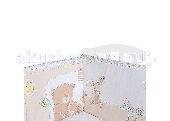 Комплект в кроватку Луняшки Топтышка (7 предметов)Топтышка (7 предметов)Комплект в кроватку Луняшки Топтышка (7 предметов)  Нежный комплект постельного белья в кроватку Луняшки из 7 предметов станет настоящим украшением любой детской и подарит малышу много сладких снов.  Бельё полностью безопасно и гипоаллергенно.  Белье выполнено из 100% хлопка (сатин), наполнитель — холлкон.  Комплектация: Борт: 360х40 см из 4-х частей (чехлы на молнии съемные) Штора балдахина: 170х400 см, вуаль Подушка: 40х60 см Одеяло: 110х140 см Наволочка: 40х60 см Простыня на резинке: 100х150 см Пододеяльник: 110х150 см<br>