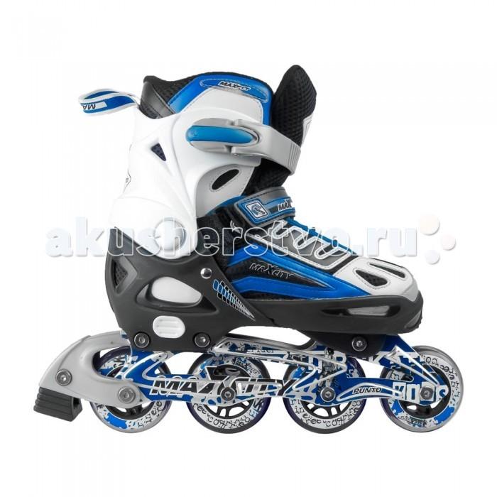 Роликовые коньки MaxCity PuntoPuntoРоликовые коньки MaxCity Punto – та модель коньков, которая является не только высокотехнологичной разработкой от компании Maxcity, но и имеет совершенный, неповторимый дизайн.   Яркий ботинок, выполненный в спортивном стиле, идеально облегает ногу во время катания, и при этом фиксируется при помощи пяточного ремня, удобной шнуровки и клипсы.   Эта модель коньков оснащена раздвижной системой Push & Pull.   Ботинок изготовлен из мембранных материалов и имеет сетчатые вставки из прочного металла, которые играют роль вентиляции.   Подшипники ABEC 5, которые используются в данной модели, наиболее популярны среди других типов и обладают хорошей точностью, что позволяет кататься с комфортом на разном дорожном покрытии.<br>