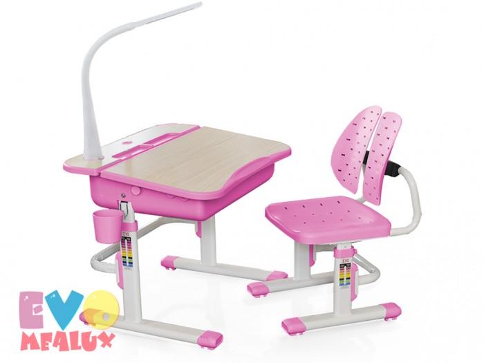 Mealux Комплект мебели столик и стульчик EVO-03 с лампойКомплект мебели столик и стульчик EVO-03 с лампойMealux Комплект мебели столик и стульчик EVO-03 с лампой  Пеналы для удобной организации рабочего пространства ребенка.  Подставка которая позволяет сделать столешницу ровной в случае необходимости. Крючок - для портфеля, учебники всегда рядом.  Изменяемая глубина спинки - что позволит более точно адаптировать стульчик под ребенка.Двойная форма спинки удобно облегает для лучшей поддержки ребенка.  Размеры: Ширина, см: 70,5 Глубина, см: 54,5 Max высота столешницы: 76 см. Min высота столешницы: 54 см. Регулировка высоты: Да Угол наклона: 0-6,5 град. Высота, см: 54 - 76<br>