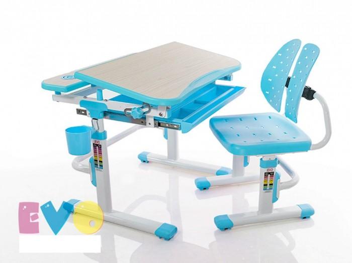 Mealux Комплект мебели столик и стульчик EVO-05Комплект мебели столик и стульчик EVO-05Mealux Комплект мебели столик и стульчик EVO-05  Пеналы для удобной организации рабочего пространства ребенка.  Выдвижной ящик - органайзер для канц-товаров,  что бы все было под рукой. Крючок - для портфеля, учебники всегда рядом.  Фиксаторы столешницы, а так же газ-лифт для плавной и легкой смены угла наклона. Изменяемая глубина спинки - что позволит более точно адаптировать стульчик под ребенка.  Двойная форма спинки удобно облегает для лучшей поддержки ребенка.  Размеры: Ширина, см: 70,5 Глубина, см: 54,5 Max высота столешницы: 76 см. Min высота столешницы: 54 см. Регулировка высоты: Да Угол наклона: 0-60 град. Высота, см: 54 - 76<br>