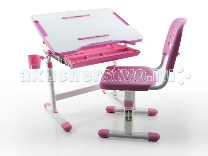 Mealux Комплект мебели столик и стульчик EVO-08Комплект мебели столик и стульчик EVO-08Mealux Комплект мебели столик и стульчик EVO-08  Боковой пенал для самого необходимого, а так же магнитные фиксаторы для бумаги. Удобный ящик-органайзер для тетрадей и канцелярии, позволит держать все в одном месте. Крючок для портфеля или сумки.  Угол наклона столешницы изменяется при ослаблении фиксаторов. Бумага для рисования в встроенном рулоне отлично подойдет для юных художников.  Барьер встроенный в столешницу не позволит упасть тетрадям и книгам со стола при наклоне.  Размеры: Ширина, см: 66 Глубина, см: 47 Max высота столешницы: 76 см. Min высота столешницы: 54 см. Регулировка высоты: Да Угол наклона: 0-40 град. Высота, см: 54 - 76<br>