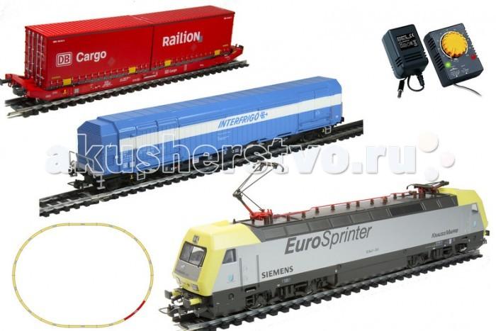 Mehano Электровоз с вагонами PrestigeЭлектровоз с вагонами PrestigeMehano Электровоз с вагонами Prestige  - это миниатюрная копия электровоза и вагонов, которые существует в реальности. Множество тщательно проработанных деталей экстерьера локомотива и вагонов придают им солидность и подчеркивают важность миссии. При желании железнодорожное полотно можно увеличить, ведь все элементы железных дорог «Mehano» совместимы друг с другом, так что юный машинист сможет прокладывать различные маршруты, строить новые станции и придумывать неповторимый, свой собственный уникальный ландшафт.   Рельсы и колеса паровозов изготовлены из металла.  Особенности:  полный привод, ведущие обе оси (передняя и задняя) в зависимости от направления движения горит свет (белый спереди, красные габаритные огни сзади и наоборот)  металлический пантограф (рабочий) возможность изменения скорости движения работает от электрической сети через адаптер – 220 вольт масштаб 1:87  В комплекте:  1 локомотив Siemens, 1 вагон рефрижиратор, 1 вагон платформа с 2-мя контейнерами 11 радиальных рельс 1 рельса контактер 2 прямые рельсы блок питания + контроллер Размер собранного железнодорожного полотна: 117,5 см х 95,5 см;  ширина колеи: 16,5 мм<br>