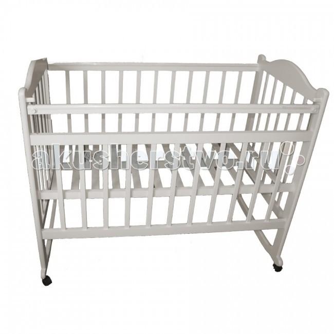 Детская кроватка Ивашка Мой малыш 4 колесо-качалкаМой малыш 4 колесо-качалкаДетская кроватка Ивашка Мой малыш 4 колесо-качалка выполнена из экологичных, гипоаллергенных материалов.   Кроватка обладает высоким качеством и комфортом, как для ребенка, так и для родителей. Благодаря современному дизайну и спокойной, мягкой расцветке она впишется в интерьер любой спальни или детской комнаты.  Кровать изготовлена из массива березы Имеются полозья для качания, также можно установить колесики для удобства перемещения кровати по квартире Положение боковой планки регулируется опускающимся устройством Боковая стенка съемная Двойной уровень поддона Днище - реечное<br>