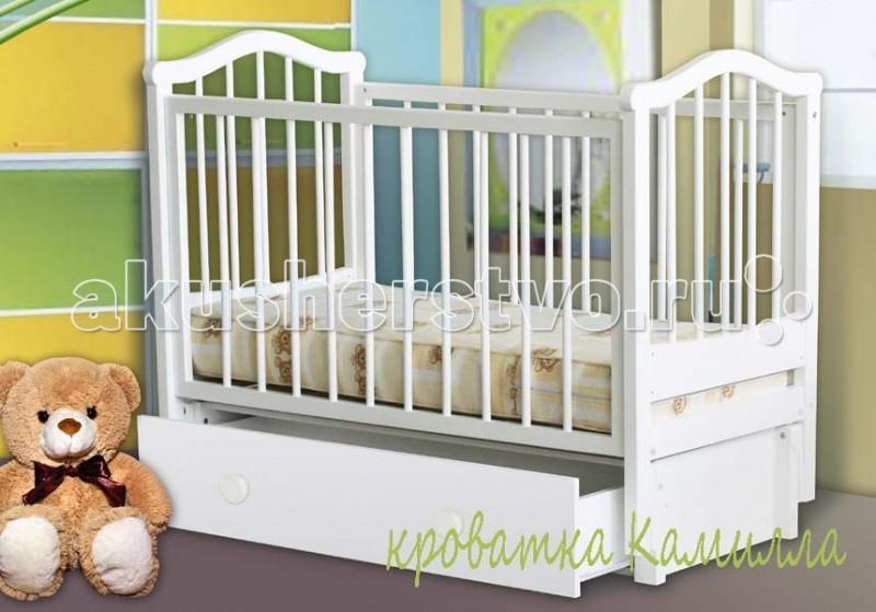 Детская кроватка Можгинский лесокомбинат Камилла продольный маятникКамилла продольный маятникДетская кроватка Можгинский лесокомбинат Камилла продольный маятник — это уютное место для безмятежного сна вашего ребенка. Кровать «Камилла» имеет 3 уровня ложа, которые позволяют менять высоту основания кроватки в зависимости от вашего желания. Подняв основание кроватки на самый высокий уровень, вы сможете максимально легко извлекать малыша из кроватки. Когда ребенок подрастет и ему потребуется больше пространства — просто опустите уровень ложа. Передняя подвижная стенка кровати также имеет 3 уровня опускания. Кроватка имеет вместительный ящик.  Выполненная полностью из натуральной древесины, детская кроватка «Камилла» не вызывает аллергических реакций у детей даже в самом раннем возрасте. Модель укомплектована выдвижным ящиком, предназначенным для хранения постельного белья или детских игрушек.  Особенности: размер матраса: 120х60 см; три уровня опускания передней подвижной спинки; три уровня ложа; скрытый механизм опускающегося бокового ограждения; две съёмные рейки в подвижном ограждении; выдвижной ящик с основанием; маятниковый продольный механизм качания со стопором; материал: натуральная древесина (береза); сертификат экологической безопасности<br>