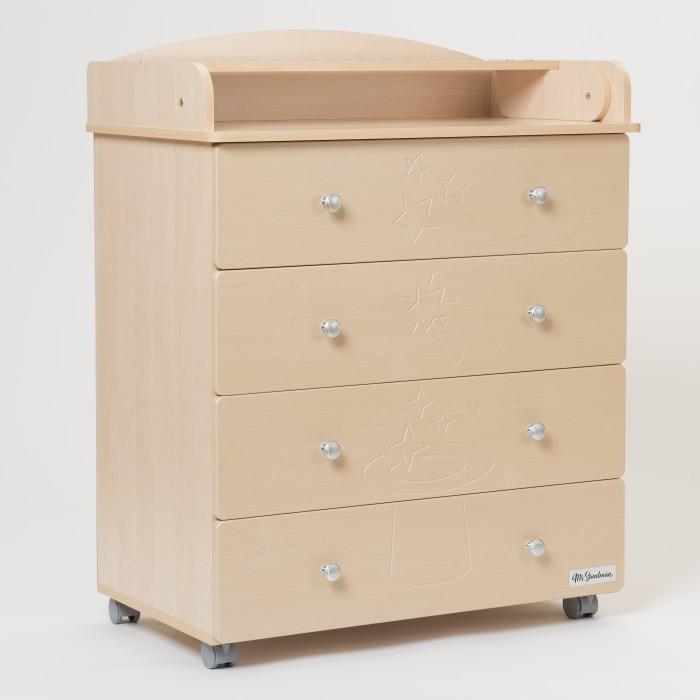 Комод Mr Sandman Stork 4 ящикаStork 4 ящикаКомод Mr Sandman Stork 4 ящика – идеальное дополнение к набору мебели в детской комнате.   Он выполнен из качественных гипоаллергенных материалов (МДФ) и покрыт нетоксичными, безопасными для ребенка лаками и красками. Конструкция представляет собой 4 выдвижных ящика на роликовых направляющих и широкую верхнюю поверхность, предназначенную для пеленания крохи, а также проведения процедур по уходу, гимнастики и массажа.  Ящики комода закрываются плавно и бесшумно благодаря шариковым направляющим с доводчиками. Появилась возможность регулировки зазоров между фасадами, т.к. фасад теперь крепится к корпусу ящика при помощи винтов.  Размеры: 80х48х1.08 см<br>