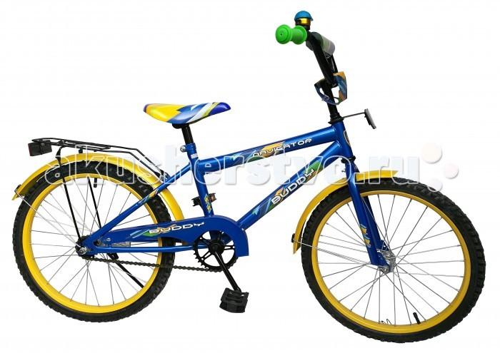 Велосипед двухколесный Navigator Buddy 20 HBBuddy 20 HBВелосипед двухколесный Navigator Buddy 20 HB сможет стать первым транспортным средством ребенка и порадует его своим оригинальным дизайном. Конструкция данного транспортного средства изготовлена из металла, что гарантирует надежность и долговечность эксплуатации.  Велосипед обладает отличными техническими характеристиками и стильным внешним видом, который непременно привлечет внимание окружающих. Изделие снабжено страховочными колесами, благодаря которым дети смогут более уверенно научиться ездить и держать равновесие.   Особенности: однокомпонентный кареточный узел камеры из натуральной резины стальные обода покрышки 20 х 2,125 задний ножной тормоз вставки в колесах широкие страховочные колеса звонок возраст от 7 до 10 лет.<br>