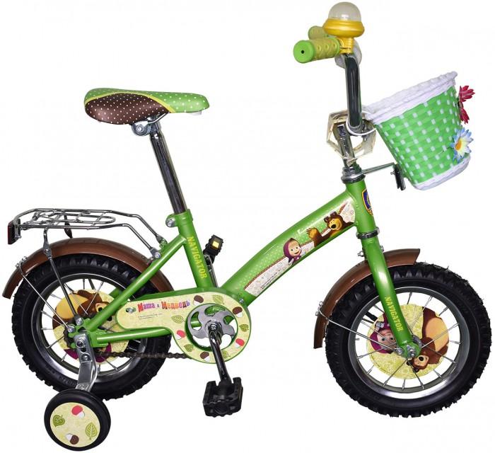 Велосипед двухколесный Navigator Маша и Медведь 12 KiteМаша и Медведь 12 KiteВелосипед двухколесный Navigator Маша и Медведь 12 Kite предназначен для активных и подвижных детей. Основа велосипеда изготовлена из металла приятного зеленого цвета. Высоту сиденья велосипеда можно регулировать по росту ребенка. Пластиковые педали удобны для детских ног. Задние боковые колеса особенно удобны для тех детей, которые только учатся ездить на двухколесном велосипеде.   Особенности: однокомпонентный кареточный узел камеры из натуральной резины стальные обода покрышки 12 х 2,125 задний ножной тормоз вставки в колесах передняя пластиковая корзина страховочные колеса с декоративной вставкой звонок-пищалка возраст от 3 до 5 лет.<br>