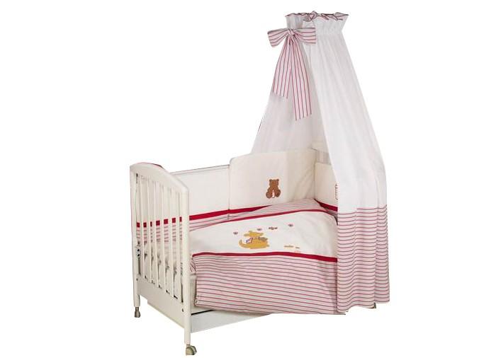 Комплект в кроватку Nino Canguro (6BB предметов)Canguro (6BB предметов)Детское постельное белье Nino Canguru BB разработано специально  для новорожденных деток. Особое внимание уделяется качеству и мягкости  хлопчатобумажной ткани, которая характеризуется практичностью в  использовании, простотой стирки и глаженья.  Материал: 100% хлопок  Наполнитель: 100% полиэстер В комплекте 6 предметов:   пододеяльник: 135 х 100 см  наволочка: 60 х 40 см  одеяло: 135 х 100 см  подушка: 60 х 40 см  борт: 360 см (на всю кроватку)  простынь на резинке<br>