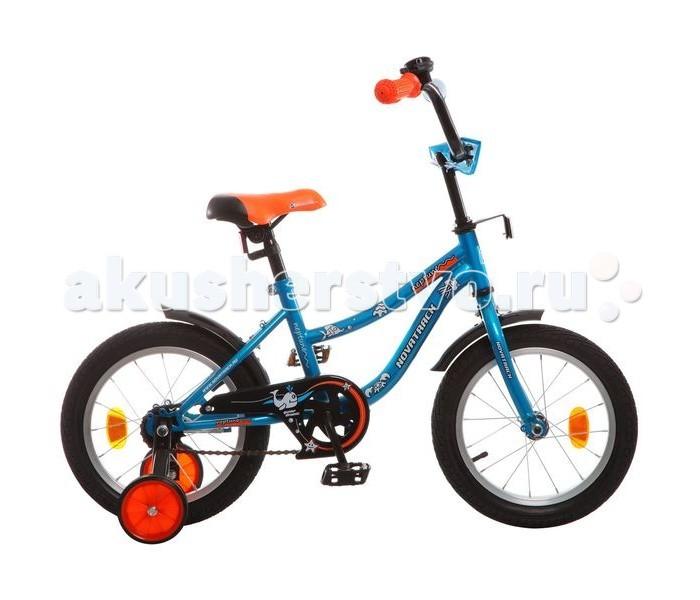Велосипед двухколесный Novatrack Neptune 14Neptune 14Велосипед двухколесный Novatrack Neptune 14 - стильный и надежный велосипед для малышей от 3-х лет. Велосипед подойдет и начинающим гонщикам, так как в комплекте есть страховочные колеса.   Особенности: низкая рама регулируемая высота седла и руля руль можно регулировать по углу наклона данная модель оборудована ограничителям поворота руля рукоятки из прорезиненного материала, с небольшими бортиками над цепью расположен металлический защитный щиток впереди руля есть мягкая подушечка тормоз - ножной крылья - укороченные в комплекте пара страховочных колес на руле и колесах крепятся катафоты есть маленький металлический звонок Диаметр колес: 14<br>