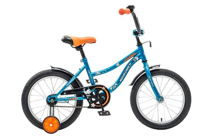 Велосипед двухколесный Novatrack Neptune 16Neptune 16Велосипед двухколесный Novatrack Neptune 16 - стильный и надежный велосипед станет отличным подарком Вашему ребенку. Основные преимущества этой модели: максимальная безопасность,комфорт, привлекательный дизайн и универсальность. Данная модель продумана до мелочей. Велосипед подойдет и начинающим гонщикам, так как в комплекте есть страховочные колеса.   Особенности: регулируемые седло и руль прочная стальная рама алюминиевые обода защита цепи ножной тормоз 4 отражателя Диаметр колес: 16<br>