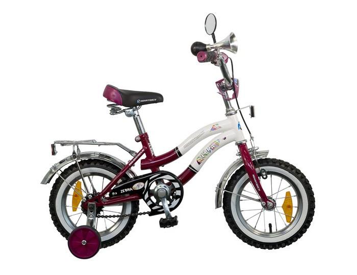 Велосипед двухколесный Novatrack Zebra 12Zebra 12Велосипед двухколесный Novatrack Zebra 12 - отличный вариант для ребенка старше двух лет, чтобы начать осваивать этот вид транспорта с пользой для здоровья. Модель имеет стильный дизайн, безупречную сборку и отличную функциональность.   Особенности: стальная рама сиденье и руль регулируются по высоте дополнительные аксессуары:  блестящий багажник, зеркальце, гудок два вида тормозов: ножной задний и ручной передний съемные дополнительные колеса защита цепи от попадания нижней части одежды в механизм Для безопасности велосипед оснащен ограничителем поворота, который не позволяет рулю повернуться на очень большой градус и тем самым предотвращает падение.   Диаметр колес: 12<br>