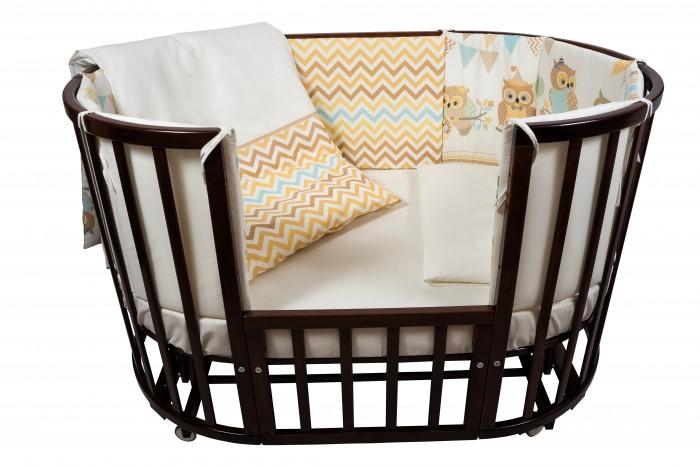 Комплект в кроватку Nuovita  Gufi (6 предметов)Gufi (6 предметов)Комплект в кроватку Nuovita Gufi (6 предметов) для детей с рождения.  Все материалы натуральные, экологически чистые и не вызывают аллергии, что так важно при выборе постельного белья для самых маленьких. В сочетании с безукоризненным качеством пошива и прекрасным дизайном эти преимущества делают комплект замечательным вариантом для оформления спального места в детской комнате.  В комплекте: бампер наволочка одеяло пододеяльник подушка простынь на резинке<br>
