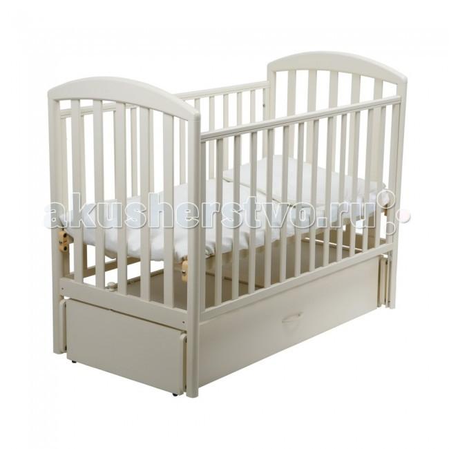 Детская кроватка Papaloni Джованни маятник 120х60Джованни маятник 120х60Детская кроватка Papaloni Джованни маятник 120х60 - это прекрасное решение для родителей, ценящих функциональность, классический дизайн и безопасность детской мебели. Кроватка предназначена для самых маленьких детей с рождения.  Благодаря маятниковому механизму ребенка легко успокоить и уложить спать.  В кроватке регулируется глубина спального места с ростом малыша (2 уровня ложа), а также уровень высоты боковины.   Когда малыш подрастет, боковину можно и вовсе снять, тогда в распоряжении ребенка оказывается удобный диванчик.  В кроватке Papaloni Джованни есть вместительный выдвижной ящик (кроме расцветок Черешня и Салатовый).  Материалы и безопасность Изделие изготовлено из массива бука и покрыто безопасными для детей лаками на водной основе.  На боковины можно прикрепить специальные накладки из ПВХ, которые входят в комплект. Они предусмотрены для защиты малыша от травматизма и долговечности мебели.  Высококачественная фурнитура от ведущих итальянских производителей продлевает срок эксплуатации кроватки.  Все кроватки прошли самый тщательный контроль и сертификацию на территории Российской Федерации.<br>