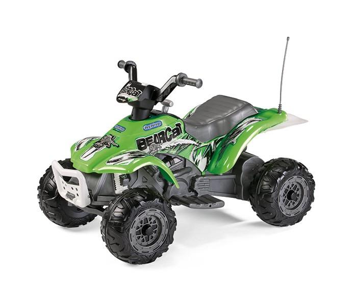 Электромобиль Peg-perego Corral BearcatCorral BearcatДетский электромобиль Peg-Perego Corral Bearcat.   Стильный зелёный одноместный квадроцикл от всемирно известного производителя Peg Perego, предназначенный для детей в возрасте от 2 лет. Квадроцикл предназначен для катания по ровным и ухабистым поверхностям с максимальным уклоном до 5%.  Электроквадроцикл оснащён настоящими амортизаторами, двухступенчатой коробкой передач, кенгурятником и имитацией выхлопной трубы. Квадроцикл способен развивать максимальную скорость 3,4 км/ч при максимальной нагрузке (до 25 килограмм) в любом направлении.  С простым и интуитивно понятным управлением разберётся любой ребёнок. Для начала езды нужно нажать на педаль, если её отпустить, то квадроцикл остановится.  Шестивольтовый аккумулятор, ёмкостью 4,5 А/ч позволяет непрерывно кататься на электромобиле до 50 минут. Аккумулятор и зарядное устройство входят в комплект.  Технические характеристики:  Возраст/Maкс. вес ребенка: 2+/25 кг Длина/Ширина/Высота, см: 100/65/65 Кол-во скоростей: 1+R Двигателей / ведущих колес: 1 (140Вт)/1 Макс. скорость+R: 3.4+ 3.4 км/ч реверс Аккумулятор: 6В (4,5 A/ч) Время непрерывной работы при максимальной нагрузке: 50 мин Время зарядки аккумулятора: 12 –14 ч<br>