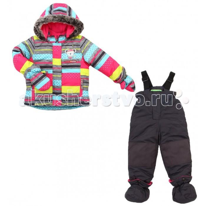 Peluchi &amp; Tartine Куртка и полукомбинезон для девочек F16M40Куртка и полукомбинезон для девочек F16M40PELUCHI&TARTINE, комлпект для девочек (куртка+полукомбинезон) из коллекции зима 2016-2017.  Состоит из куртки и полукомбинезона, изготовленных из водоотталкивающей ткани с утеплителем из изософта, а для максимального комфорта на подкладке используется флис, который сохраняет тепло.  По настоящему теплая зима: температурный режим комплекта до -30 градусов.   Водонепроницаемость 3000 мм мембраны!<br>