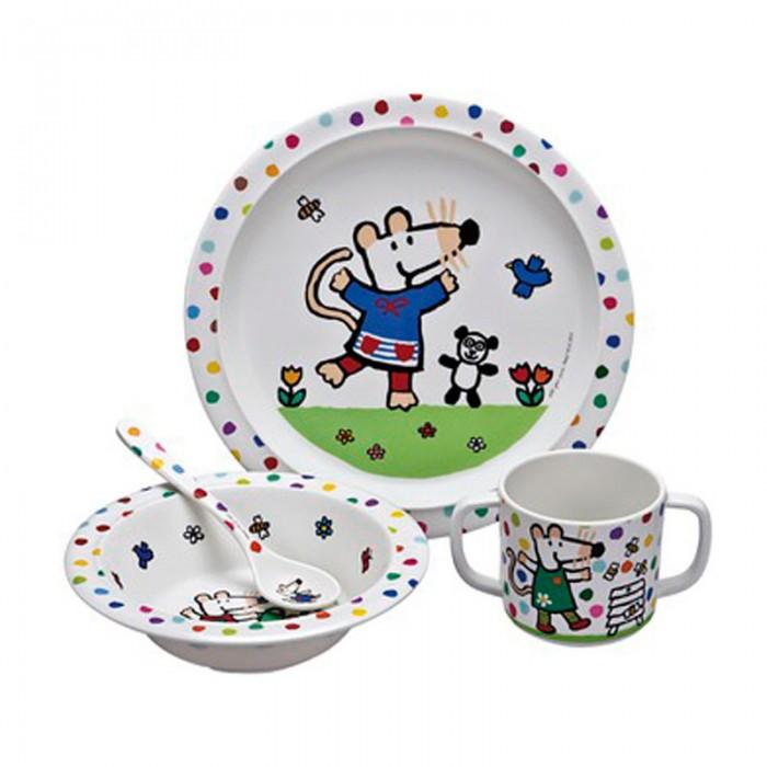 Petit Jour Набор детской посуды MimiНабор детской посуды MimiPetit Jour Набор детской посуды Mimi в подарочной упаковке. Ваш малыш будет кушать с удовольствием!   Особенности: набор изготовлен из гипоаллергенного материала 0% фталатов и BPA (бифенол А) на дне тарелки есть веселый рисунок, для того, чтобы ее разглядеть, нужно опустошить тарелку тарелка с нескользящим дном и широкими краями, что обеспечивает ее устойчивость и непроливание пищи глубокая ложечка удобная ручка у ложки идеальна для самостоятельного питания кружка с двумя ручками тарелку и приборы можно мыть в посудомоечной машине  не подходит для использования в микроволновой печи и для горячих напитков  В комплекте: тарелка, глубокая тарелка, ложка и кружечка. В подарочной упаковке.  Размер: ложка 14 см, глубокая тарелка 16 см, тарелка 21 см, кружка 7х9 см<br>