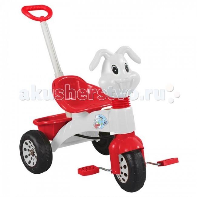 Велосипед трехколесный Pilsan Bunny с ручкойBunny с ручкойВелосипед трехколесный Pilsan Bunny с ручкой с педалями на переднем колесе.  Руль украшен головой зайца. Глубокое сиденье создает необходимый уровень комфорта и безопасности.   Также велосипед оснащен корзиной под сиденьем и музыкальной панелью с 5 мелодиями.  Велосипед оснащен выдвижной ручкой родительского контроля, соединенной с рулевым управлением.  Велосипед идеально подходит для прогулок во дворах и в парках. Легкость в использовании дает возможность малышу кататься самостоятельно.   Велосипед Pilsan способствует развитию опорно-двигательного аппарата ребенка, укреплению суставов и координации в пространстве.  Размеры: (шхдхв) 46.5х91х92 см.  Среди огромного количества детских игрушек выгодно отличается продукция турецкой компании Pilsan, которая является лидером в производстве крупногабаритных игрушек для детей разных возрастов. Продукцию компании Pilsan характеризует высокое качество, недаром лозунг компании звучит как «Quality in Toys» - «Качество в игрушках». Продуманный дизайн, тестирование, обеспечение контроля на всех стадиях производства подтверждает слоган компании. Все игрушки, производимые компанией Pilsan, отличаются высоким качеством, безопасны, не содержат вредных материалов и красителей, для производства используется экологически чистый пластик.<br>
