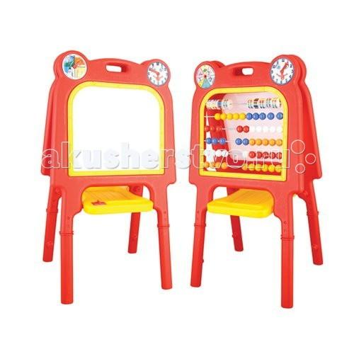 Pilsan Доска для рисования большая + счётыДоска для рисования большая + счётыДоска для рисования большая со счетами — это и учебное пособие, стимулирующие интерес к письму и математике, и игрушка для ролевых игр.  Для малышей дошкольного возраста доска служит как удобный мольберт. С детьми постарше можно использовать её в сюжетно-ролевых играх в школу, для наглядного объяснения учебного материала и закрепления знаний.  Ваш ребёнок теряется, когда его вызывают к доске в классе? Эта доска станет любимой игрушкой и поможет преодолеет страх и стеснение перед настоящей школьной доской.  Некоторым детям сложно аккуратно писать на вертикальной поверхности, когда нет опоры для кисти руки. Доска Pilsan поможет ребёнку тренироваться в письме на вертикальной поверхности дома.  В комплект входит: мольберт с двумя часиками с одной стороны счеты с другой стороны губка в пластиковом держателе маркер  Размер мольберта 66х55х118 см Рабочая поверхность 45х40 см  Цвета в ассортименте.  Компания Pilsan начала свою историю в 1942 году. Сегодня – это компания-гигант индустрии крупногабаритных детских игрушек, которая экспортирует свою продукцию в 57 стран мира. Компанией выпускается 146 наименований продукции – аккумуляторные и педальные автомобили, велосипеды, развивающие игрушки и аксессуары для детей. Вся продукция Pilsan сертифицирована и отвечает международным стандартам качества.<br>