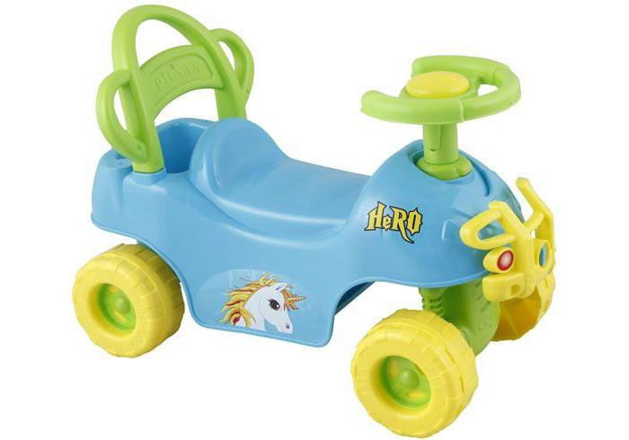 Каталка Pilsan Hero ATVHero ATVКаталка Pilsan Hero ATV - выполнен в виде автомобиля с клаксоном и рулем. Также каталка имеет прочную заднюю спинку.  Максимальный вес ребенка не должен превышать 50 килограммов.  Каталка способствует развитию опорно двигательного аппарата ребенка, укреплению суставов и координации в пространстве.<br>