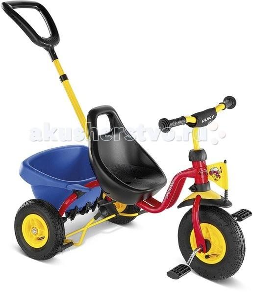 Велосипед трехколесный Puky CAT 1LCAT 1LТрехколесный велосипед Puky Cat 1L отличный транспорт для катания ребенка от 2 до 4 лет! Родительская ручка регулируется по высоте. После того, как ребенок освоит педали и начнет кататься самостоятельно, родительская ручка может быть отсоединена.  Puky Cat 1L обладает бесшумным и мягким ходом. Широкая колесная база обеспечивает максимальную устойчивость.  Материалы: металл, пластик высокое качество окраски  Характеристики: предназначен для катания детей от 2 до 4 лет, на рост 90 до 104 см максимальная устойчивость и безопасность легкий вес Barpad (противоударная подушечка на руле) безопасные ручки на руле ограничение поворота руля родительская ручка съемная, регулируется по высоте (без управления рулем) анатомическое сиденье с высокой спинкой и регулировкой роста на 6 см откидывающийся кузов с фиксатором блокировка руля блокировка педалей переднего колеса ручной тормоз безопасный велосипед с пневматическими шинами, на котором ребенку удобно самому крутить педали низкий центр тяжести как гарантия против переворачивания ребенка на велосипеде максимальная нагрузка - 25 кг  Общие размеры: (дхшхв)  75х48х24 см Размеры колес:   диаметр передних/задних  22.5/18 см Вес:  6 кг<br>