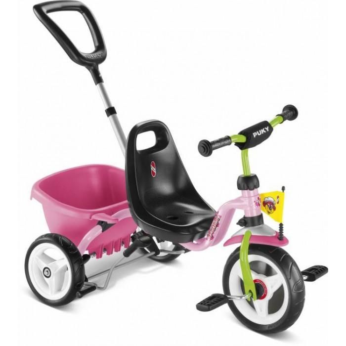 Велосипед трехколесный Puky CAT 1SCAT 1SТрехколесный велосипед Puky Cat 1S отличный транспорт для катания ребенка от 2 до 4 лет! Родительская ручка регулируется по высоте. После того, как ребенок освоит педали и начнет кататься самостоятельно, родительская ручка может быть отсоединена.  Puky Cat 1S обладает бесшумным и мягким ходом. Широкая колесная база обеспечивает максимальную устойчивость.  Материалы: металл, пластик высокое качество окраски  Характеристики: предназначен для катания детей от 2 до 4 лет, на рост 90 до 104 см максимальная устойчивость и безопасность легкий вес Barpad (противоударная подушечка на руле) безопасные ручки на руле ограничение поворота руля родительская ручка съемная, регулируется по высоте (без управления рулем) анатомическое сиденье с высокой спинкой и регулировкой роста на 6 см откидывающийся кузов с фиксатором колеса литые блокировка руля блокировка педалей переднего колеса ручной тормоз низкий центр тяжести как гарантия против переворачивания ребенка на велосипеде максимальная нагрузка - 25 кг  Общие размеры: (дхшхв)  75х48х24 см Размеры колес:   диаметр передних/задних  22/18 см Вес:  5.5 кг Габариты коробки:  52 х 39 х 33<br>