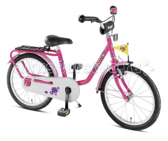 Велосипед двухколесный Puky Z8Z8Puky Z8 - отличный велосипед для Вашего ребенка в возрасте от 4 лет. Велосипед выглядит серьезно и представительно, его эргономика очень хорошо продумана, а качество материалов и сборки очень высокое. Такой велосипед послужит не один сезон, а после перейдет в наследство младшему ребенку от старшего.  Рама велосипеда выполнена из стали и окрашена с помощью порошковой технологии, что гарантирует повышенную износоустойчивость. Такому покрытию не страшны яркий солнечный свет и падения на асфальт. Сварные швы на раме аккуратные и надежные, что обеспечивает устойчивость к нагрузкам во время катания.  Колеса велосипеда диаметром 18 дюймов с чрезвычайно мягким и легким ходом. Шины - пневматические, накачиваются ручным или электронасосом (в комплект не входит). Ниппель DV (Dunlop Valve), для накачки стандартным автомобильным или велонасосом может потребоваться адаптер AV/DV. Колеса закрыты крыльями, оберегающими одежду ребенка от брызг с колес.  Характеристики: материал - сталь рекомендуется детям от 4 до 7 лет на рост от 105 см, длину ноги от 45 см немецкое качество накачиваемые колеса 18  рулевое управление и педали на шарикоподшипниках звонок регулируемый ручной тормоз регулировка положения седла 53-62 см подставка для парковки флажок безопасности, багажник Barpad (противоударная подушечка) на руле защита цепи крылья, защищенные по краям пластиком светоотражатели передние и задние высота рамы 28 см нижняя позиция седла 53 см максимальная нагрузка 50 кг  В комплекте: велосипед звонок флажок  Размер 124 х 53 см Вес 10.9 кг<br>