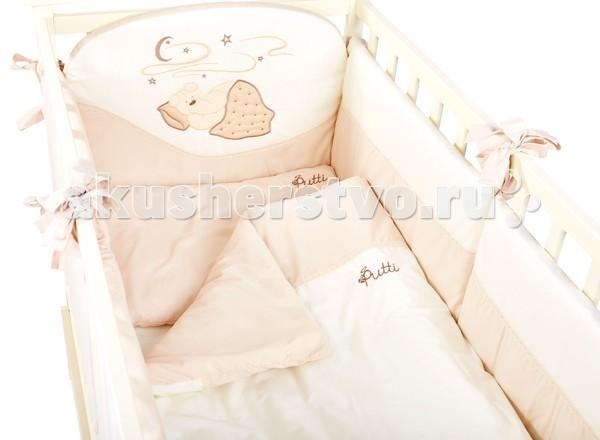 Комплект в кроватку Putti Starry night 120x60 (8 предметов)Starry night 120x60 (8 предметов)Комплект постельного белья Putti Starry Night 8 элементов выполнен в пастельных теплых тонах с оригинальной аппликацией.   Крепкий сон очень необходим для нормального развития младенцев. В постельном белье большое внимание уделяется мягкости ткани и качеству. Это белье легко стирается и гладится не теряя при этом формы . Идеально подходит для кроватки новорожденного размером 120х60см  В детский комплект входит: Подушка 60х40 см Наволочка 60х40см Одеяло 120х90 см Пододеяльник 120х90 см Защита по периметру кроватки 360 см (состоит из 6 отдельных частей) Простыня с резинкой Балдахин тюлевый на всю кроватку 5м. Карман для аксессуаров  Ткань 100 % хлопок Наполнитель 100 % полиэстер<br>