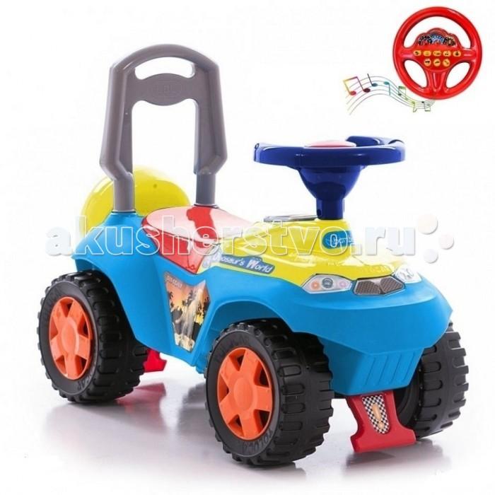 Каталка R-Toys АвтошкаАвтошкаКаталка R-Toys Автошка с музыкальным рулем.  Особенности: Уникальность этой каталки Автошка в том, что она-маленький учитель и обучает малышей правилам дорожного движения.  Машинка имеет 8 музыкальных кнопок на руле, при нажатии которых Вы услышите детский голос, рассказывающий о правилах дорожного движения, реалистичные звуки автомобиля: звук ключа зажигания, звуки двигателя, звуки торможения и остановки. Например: «Привет! Я- Автошка! Осторожно! Уступите дорогу», «Поворот налево! Поворот направо!» и т.д. Также звучит веселая песенка Автошки о правилах дорожного движения. Это очень полезно знать с самого раннего возраста. Эргономика сиденья-10 баллов.  Конструкция каталки сделана таким образом, что детская машинка полностью защищена от переворачивания или других происшествий на дороге - спереди и сзади есть специальные упоры.  Каталкой управлять предельно просто, это поймет даже самый маленький ребенок.  Ребенок может садиться на удобное сиденье, отталкиваться ножками и ехать, держась за руль каталки и поворачивая передними колесами.  Каталка сделана из высококачественного пластика, который не подвержен перепаду температур, не деформируется и не выгорает под солнцем.  Езда на каталке стимулирует ребенка к активным движениям и развитию. В процессе игры развивается общая моторика, умение управлять своим телом. В процессе езды ребенок познает окружающий мир, фантазирует и развивает воображение.  Очень устойчивые, широкие и проходимые колеса легко справятся с любым покрытием дорог. Крутящиеся большие колеса позволяют ездить самому, катать машину руками или возить за веревочку.  Эту каталку можно использовать и дома, и на улице.  Яркий цвет и дизайн покорит с первого взгляда и Ваш малыш не захочет расставаться с каталкой.  Под сиденьем расположен вместительный багажник, а сзади красуется декоративная запаска.  Максимальная нагрузка 25 кг. Рекомендуется для детей от 2 лет.  Размеры каталки: 62х28х37 см.<br>