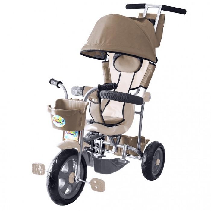 Велосипед трехколесный R-Toys Galaxy Лучик с капюшономGalaxy Лучик с капюшономGalaxy Лучик - 3-х колесный велосипед с родительской ручкой управления на мягких полиуретановых колесах для детей от 12 месяцев. Идеальное сочетание цены и качества, при этом качество намного выше чем цена. Фирменный цвет Galaxy Лучик - желто-коричневый. Он действительно светится и на солнце, и в темноте. Вы оцените это солнышко на сером городском асфальте.   Уникальность велосипеда: В его легком весе: 8 кг. Велосипед изготовлен из материалов отечественного производства, без применения дешёвых импортных аналогов. Рама и элементы управления сделаны из стали, что придает большую надежность и больший срок службы при невысокой стоимости. Облегченная металлическая рама покрыта порошковой краской. Родительская ручка управления - усиленная и прочная. Удобная родительская ручка установлена под идеальным углом и подходит под любой рост взрослого. Благодаря системе управления велосипед очень маневренный и легкий в управлении. Как прогулочная коляска, только легче. Большие проходимые колеса из мягкого полиуретана едут бесшумно и готовы покорить любые дороги. Съемный чехол для сиденья с мягким подголовником для малышей. Складной капюшон защитит от дождя и солнца. Благодаря складному защитному капюшону как у коляски, малыш будет чувствовать себя очень комфортно внутри велосипеда. На капюшоне есть сетчатое окошко через которое Вы сможете наблюдать за малышом. Дополнительную безопасность придает твердый барьер, сверху покрытый мягкой пористой тканью. И он удержит Вашего непоседу. Барьер безопасности поднимается и опускается вручную. Его форма и мягкость обеспечивает надежную безопасность в поездке. Очень большая удобная съемная подножка в виде лотка на крючках, которые крепятся на раму. Все гениальное - просто! Сиденье передвигается ближе/дальше к рулю. На спинке сиденья - удобная ручка для переноски велосипеда. Убрав капюшон, ручку и подножки, Вы удивите малыша невесомым простым 3-х колесным велосипедом