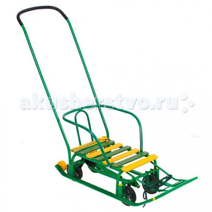 Санки R-Toys Kelkka Buran на больших колесах + 2 маленьких колесаKelkka Buran на больших колесах + 2 маленьких колесаСанки-коляска R-Toys Kelkka Buran на больших колесах + 2 маленьких колеса снегомобиль с 4 прорезиненными колесами и очень надежным педальным механизмом.  Нажатием ноги на рычаг сзади можно поднять колеса снегомобиля и ехать по асфальту, а можно опустить и катить санки на полозьях по снегу.  Перекидная ручка-толкатель: ребенок может находиться в 2-х положениях: лицом к дороге и лицом к маме.  За счет специальных пластиковых втулок, ручка-толкатель легко вставляется и вынимается из трубы рамы как спереди, так и сзади.  На санках имеется страховочный ремешок на карабине.  Спинка снегомобиля может убираться совсем.  Рукоятка на ручке - толкателе - из резины, плотно обтягивающей металлический каркас.  6 деревянных поперечных планок покрашены высококачественной краской.  Удобная ступенчатая подножка для ребенка.  Маленькие колесики сзади на полозьях - для удобной транспортировки.<br>
