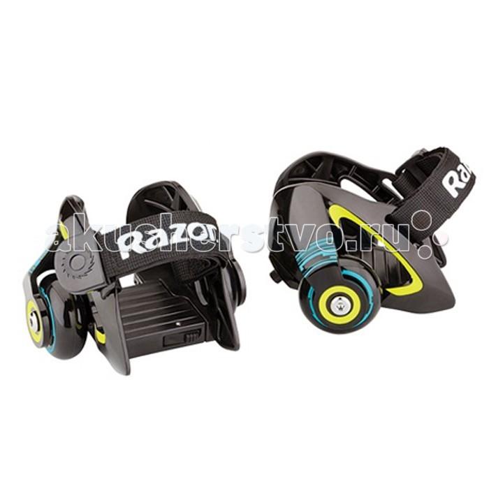 Роликовые коньки Razor Jetts на обувьJetts на обувьРоликовые коньки Razor Jetts на обувь способны превратить обычную обувь в удобное средство передвижения.  Особенности: От 6 лет Подходит под рост от 100 до 200 см. Вес роликов всего 550 грамм Максимальная нагрузка 80 кг. Подходит под детскую обувь до 29 размера и взрослую обувь до 46 размера Быстросъёмный и заменяющийся искрящий элемент Сверхпрочный регулируемый ремешок Полиуретановые колёса диаметром 50 мм. Быстрые и плавные фирменные подшипники RZR Сборка не требуется Гарантия 6 месяцев<br>