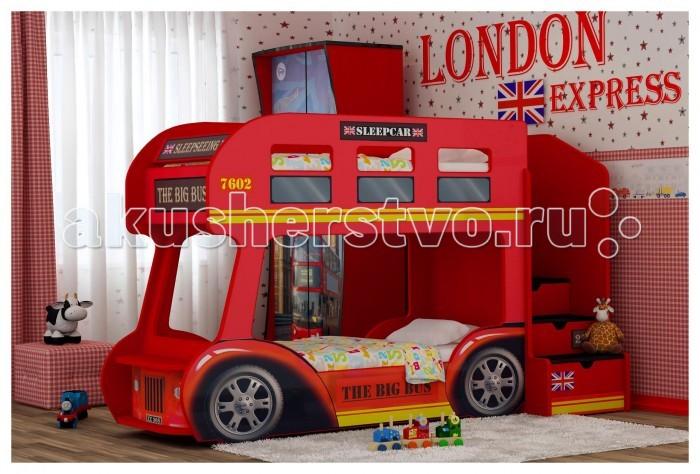 Детская кроватка Red-River двухъярусная Автобус Престиждвухъярусная Автобус ПрестижДетская кроватка Red-River двухъярусная Автобус Престиж  Если у вас двое детей, то двухъярусная кровать может стать отличным решением для обустройства их детской комнаты. Особенно, если эта кровать будет обладать ярким дизайном, который привлечет детское внимание. А если эта кровать сама будет представлять собой автобус, да еще и с героями любимого мультфильма, то любой малыш уж точно придет в восторг.  Он сможет стать или отважным водителем, едущим по африканскому бездорожью, или же туристом, рассматривающим прекрасные виды с верхнего этажа – обе этих роли одинаково увлекательны. Именно поэтому этот автобус не только станет удобной кроватью, но и превосходной игровой площадкой, почти всегда находящейся в центре внимания.  Особенности: яркий и стильный дизайн устойчивая и прочная конструкция безопасные для детского здоровья и экологически чистые материалы изображение с разрешением 1440 dpi подходит под матрасы размером 160х70 или 170х70 см (по желанию) лестница с 4-мя выдвижными ящичками  лестница устанавливается слева или справа (по желанию) ортопедическое основание влагостойкое ламинированное покрытие  Высота борта второго яруса - 25 см от матраса Рекомендованная высота матраса 8 см<br>