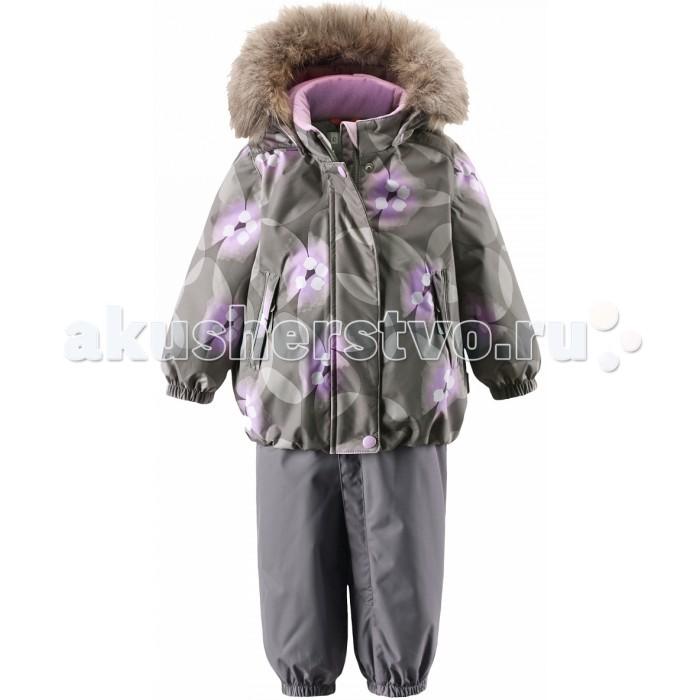 Reima Зимний комплект MuhviЗимний комплект MuhviБлагодаря чудесному цветочному рисунку этот непромокаемый зимний комплект для малышей сделает морозное утро веселее! Зимняя куртка и брюки для малышей изготовлены из водо- и ветронепроницаемого, дышащего материала с водо- и грязеотталкивающей поверхностью. Все швы в куртке и брюках проклеены и водонепроницаемы, поэтому неожиданный снегопад или дождь не помешает веселым играм на свежем воздухе!   Эта куртка с подкладкой из гладкого полиэстера легко надевается, ее очень удобно носить с теплым промежуточным слоем. Куртка прямого кроя с безопасным съемным капюшоном. Капюшон обеспечивает дополнительную безопасность во время активных прогулок - кнопки легко отстегиваются, если капюшон случайно за что-нибудь зацепится.   Брюки с высокой талией и регулируемыми подтяжками будут сидеть точно по фигуре, а длинная молния спереди облегчит надевание. Благодаря дополнительной вставке из ватина малыши не замерзнут, сидя на снегу или катаясь с горы. Брючины с прочными силиконовыми штрипками на концах не задираются во время прогулки.  Характеристики: Зимний комплект для малышей Все швы проклеены и водонепроницаемы Водоотталкивающий, ветронепроницаемый, дышащий и грязеотталкивающий материал Утепленная задняя часть изделия Крой для девочек Гладкая подкладка из полиэстра Безопасный съемный капюшон с отсоединяемой меховой каймой из искусственного меха Эластичные манжеты, пояс Высокая талия брюк с регулируемыми подтяжками Прочные силиконовые штрипки Длинная молния для легкого одевания Два кармана на молнии Безопасные светоотражающие детали Температурный режим до -20 градусов  Состав: Верх - 100% Полиамид, полиуретановое покрытие, подкладка - 100% полиэстер, утеплитель - синтетический Брюки - 140 гр,  Куртка - 160 гр.  Уход: Стирать по отдельности, вывернув наизнанку. Застегнуть молнии и липучки. Стирать моющим средством, не содержащим отбеливающие вещества. Полоскать без специального средства. Во избежание изменения цвета изделие необходимо 