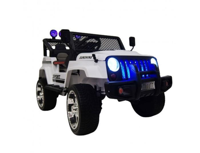 Электромобиль RiverToys Jeep T008TTJeep T008TTЭлектромобиль RiverToys Jeep T008TT поистине легендарен. Автомобиль отображает всю мощь и силу в своем исполнении.   Эта машина зарекомендовала себя как проходимый и выносливый вездеход. Он преодолевает любые преграды и проходит по любому бездорожью! На него только стоит взглянуть и сразу создается впечатление, что надвигается истинная мощь и непокорность. В нем четко прорисованы детали легендарного оригинала - высокие колесные арки, передняя рамка под радиаторной решеткой, воздухозаборники на открывающемся капоте, массивная подножка под дверьми, подвижные высокие зеркала заднего вида, и самое главное - это полноприводное авто, с высокой степенью проходимости!  Особенности: открытый кузов с мощным каркасом безопасности представляет из себя кабриолет колеса выполнены из EVA-резины - устойчивые к износу и морозу, а также экологически безопасные для любого юного водителя высокий клиренс - обеспечивает прохождение по бездорожью и ухабам, преодолевая любые преграды полный привод - обеспечивает улучшенную проходимость и длительность езды. кожаное сиденье обеспечивает комфорт и лаконично обновляет данную легендарную модель плавный ход при старте исключает испуг ребенка при движении коробка-автомат не только дополняет плавный старт, но и позволяет правильно реагировать на силу нажатия на педаль, что способствует развитию у ребенка навыков езды и логическому мышлению. мультимедийная система - оснащена сигналами и различными треками верхние ходовые огни над сиденьем - создают полное впечатление вездехода и дополняют его присущности к Сафари неоновая подвеска радиаторной решетки и яркие круглые фары открывающийся капот - сочетает в себе игру и реальность с настоящим авто, обеспечивая легкую смену аккумулятора открывающаяся запаска  - создает впечатление истины подходит для детей от 3 до 8 лет cветовые (передние фары, прожектора) и звуковые эффекты индикатор заряда батареи пульт управления: индивидуальный (настраивается Bluetooh) ко