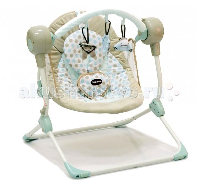 Электронные качели Baby Care BalancelleBalancelleЭлектронные качели Baby Care Balancelle  Новые стильные электронные качели для новорожденных Balancelle от Baby Care предназначены для детей до 9 кг.   Качели легко складываются одной рукой, суперкомпактны и отлично приспособлены для хранения и транспортировки.  Качели оснащены музыкальным блоком с таймером. Блок проигрывает 16 мелодий на 2-х уровнях громкости. Имеется 5 скоростей укачивания. В комплекте съемная дуга с 3-мя игрушками.  Обивка качелей легко снимается для чистки. Для безопасности качели оснащены 5-точечными ремнями. По краям обивки имеется защитная сетка.  Особенности: музыкальный блок работает от батареек; 2 положения регулировки наклона спинки; 16 мелодий, 2 уровня громкости; дуга с игрушками; 5-точечные ремни безопасности  Размеры и вес: Размеры качелей: 50x61x60 см Размеры сидения: 48x68 см Вес: 3,2 кг Вес упаковки: 10,8 кг Возраст: от рождения до 8-9 месяцев. Максимальная нагрузка: 9 кг.<br>