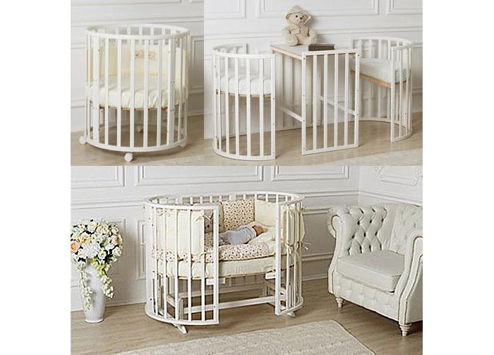 Кроватка-трансформер Roxie Incanto 7 в 1Incanto 7 в 1Кроватка-трансформер Roxie Incanto 7 в 1 экологичная и безопасная детская кроватка-трансформер для детей от рождения до 5 лет.   Трансформирование происходит из круглой кроватки для новорожденных детей до 6-ти месячного возраста в овальную до школьного возраста ребенка. Также овальная кроватка трансформируется в манеж, необходимый, когда ребенок начнет вставать и наблюдать за окружающим миром.   Как пеленальный столик, а когда ребенок подрастет, то передняя стенка убирается, боковые раздвигаются и кроватка превращается в диван. Из данной модели также можно собрать стильные кресла и столик. Все эти преимущества экономят семейный бюджет, ввиду того, что совмещают в себе множество необходимых ребенку атрибутов.    Выполнена кроватка из высококачественных материалов, безопасных для здоровья ребенка, устойчивого к механическим повреждениям и нагрузкам.  Варианты трансформации и их размеры: люлька для новорожденного круглая 75 х 75 см с рейками на безопасном расстояние. кроватка овальная 125 х 75 см  манеж для игры пеленальный стол два стульчика и столик диван, который можно использовать, как кровать 175 х 75 см Размер  матрасов в кроватку: 75 х 75 см 125 х 75 см 175 х 75 см<br>