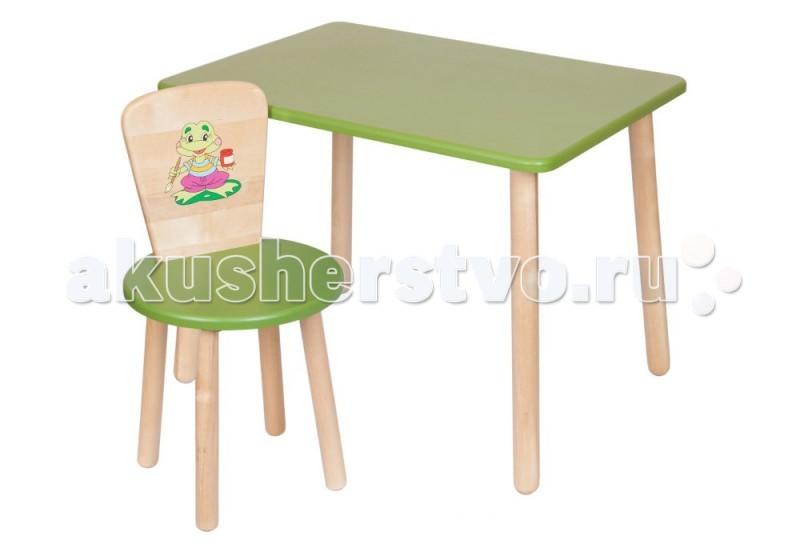 РусЭкоМебель Набор мебели Эко № 1Набор мебели Эко № 1РусЭкоМебель Набор мебели Эко № 1 , в состав которого входят детский столик и стульчик со спинкой. Оба предмета изготовлены из натурального дерева (береза), их поверхность окрашена водоотталкивающей краской и покрыта глянцевым лаком, который защищает мебель в течение долгих годов. На спинке стульчика размещено изображение.   Конструкция предметов в наборе разработана по европейским технологиям, соответствует всем нормам ГОСТа и является очень легкой по своему весу.  Размеры: Габариты стола: 50x60 см, высота 52 см; Высота стульчика: 57 см.; от пола до сидения: 32 см.  Диаметр сидения стульчика: 31 см.<br>
