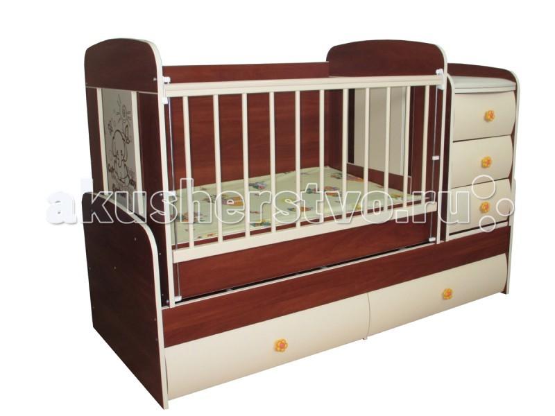 Кроватка-трансформер Glamvers Multy VipMulty VipКроватка-трансформер Glamvers Multy Vip  Кроватка трансформируется в подростковую кровать (размер 1600х650)+стол+комод.  Особенности: кровать-трасформер 3 в 1,материал ЛДСП+МДФ+бук в комплект входит - ортопедический матрас + пеленальный столик маятниковый механизм качания решетка опускается 2 положения.  ПВХ накладки  два уровня положения ложа возможность установить комод как лева так и справа кровать для подростка до 12 лет  Размер кроватки для новорожденных: 110х65 Размер кроватки для подростков : 160х65 Пеленальная доска 38*70см  Преимущества: Регулируемая боковина. Бортик кроватки подвижен, что облегчает матери доступ к ребенку. Механизм спуска и подъема с надежной фиксацией. Накладки ПВХ, которые безопасны для ребенка, также предохраняют поверхность кроватки от повреждений. Запатентованный механизм маятника. Детские антитравматические резиновые ручки с детским рисунком. Матрас в комплекте. Выдвижные 2 нижних шкафа, с роликовыми направляющими. Комод: 3 выдвижных ящика. Кроватка трансформируется в письменный стол + подростковая кровать + пеленальный столик-комод. Гнутые крашенные фасады МДФ молочного цвета. Цвет матраса может отличаться от представленного на фото!<br>