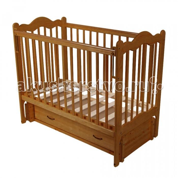 Детская кроватка Счастливый малыш Дюймовочка (продольный маятник)Дюймовочка (продольный маятник)Детская кроватка Счастливый малыш Дюймовочка (продольный маятник) предназначена для новорожденных.   Особенности: Регулируемое основание кроватки – с двумя уровнями установки (которые возможно чередовать в зависимости от потребностей вашего ребенка). Продольный маятниковый механизм качания, который можно фиксировать (приводить в движение, когда малыш засыпает и останавливать тогда, когда ребенку нужно спокойствие). Автостенка (механизм опускания передней стенки). Кроватка оснащена удобным выдвижным закрытым ящиком с двумя секциями, в котором можно хранить распашонки, памперсы, крема и салфетки, – есть пространство для постельного белья и небольшого матрасика. На боковых стенках расположены защитные боковые накладки из силикона – с ними ваш ребенок никогда не повредит свои зубки.<br>