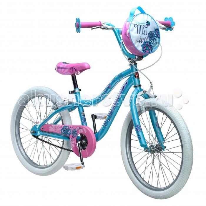 Велосипед двухколесный Schwinn детский Mist 20детский Mist 20Schwinn Велосипед детский Mist 20, 1 скорость, колёса 20. – это небесно-голубой цвет, розовое седло и ручки-цветочки, плюс сумочка для кукол на руле. Все это создано для настоящих маленьких леди, которые уже стремятся быть модными и женственными. Цветочки-ограничители на концах руля – это не просто декоративный элемент, но и функциональная вещь, ведь ручки ребенка не соскочат при неловком движении.  Классические ободные тормоза надёжны и проверены временем, они не подводят в любую погоду. Защита приводной цепи спасет одежду ребёнка от загрязнения.  Schwinn® SmartStart - новая концепция в разработке детских велосипедов, учиться кататься стало проще и веселее!  Особенности: • Рама Schwinn Smart Start • Надёжные ободные тормоза • Регулировка высоты седла без инструментов • Регулировка руля по высоте и наклону • Полноразмерная защита цепи • Ограничители на концах руля • Сумочка для кукол на руле • Подножка в комплекте • Колёса 20 • Велосипед для детей 6-9 лет • Для роста 115-130см<br>