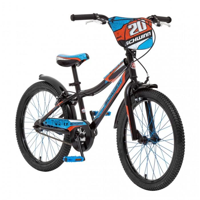 Велосипед двухколесный Schwinn детский Twister 20детский Twister 20Schwinn Велосипед детский Twister 20, 1 скорость, колёса 20. Спортивный стиль велосипеда Twister подчёркивает гоночная черно-голубая раскраска с яркими элементами. Прочная стальная рама и вилка – это основа надёжной конструкции велосипеда. Седло регулируется по высоте. Мягкая накладка на верхней трубе защищает от травм во время катания.    Ободные тормоза надёжны и проверены временем, они не подводят в любую погоду. Полноразмерная защита цепи спасёт одежду от загрязнения. Schwinn® SmartStart - новая концепция в разработке детских велосипедов, учиться кататься стало проще и веселее!  Особенности: • Рама Schwinn Smart Start • Надёжные ободные тормоза • Регулировка высоты седла без инструментов • Регулировка высоты руля и наклону • Полноразмерная защита цепи • Мягкая накладка на верхней трубе • Цветные спицы • Подножка в комплекте • Колёса 20 • Велосипед для детей 6-9 лет • Для роста 115-130см<br>