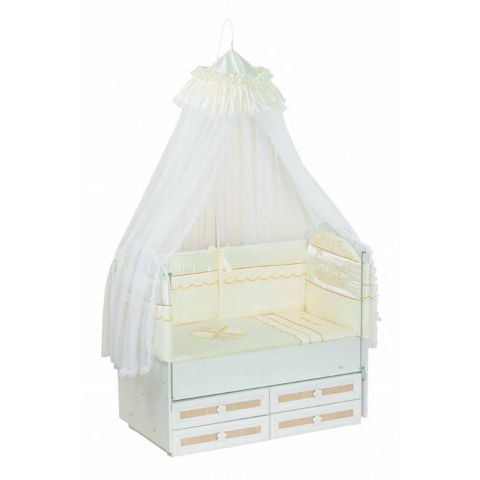 Комплект в кроватку Селена (Сдобина) Друзья (7 предметов)Друзья (7 предметов)Набор детского постельного белья Сдобина Друзья – это стильное, практичное, красивое, функциональное решение для детской кроватки по доступной цене. Белье отечественного производства радует доступностью цены и при этом достойным видом.  Состав:  1. Одеяло – 110х140 - (бязь — хлопок 100%; наполнитель - холлкон*); 2. Подушка – 40х60 - (бязь — хлопок 100%; наполнитель - холлкон); 3. Бампер – раздельный 2 части, 4 стороны со съемными чехлами (360 см) - (сатин** — хлопок 100%;  наполнитель - холлкон); 4. Балдахин - тюль (сетка) с отделкой из ткани атлас-сатин – (стандарт 500х170); 5. Пододеяльник – 112х142 - (сатин — хлопок 100 %); 6. Простынка с резинкой - (сатин — хлопок 100 %); 7. Наволочка 42х62 - (сатин — хлопок 100 %).  Балдахин для кроватки новорожденного: - Изготовлен из воздушной мелкоячеистой сетки; - Обеспечит малышу уют и спокойный крепкий сон; - Укроет Вашу кроху от яркого света; - Легкая воздухопроницаемость, но вместе с тем, повышенная защита от насекомых и пыли.  *Холлкон – волокно, используемое в качестве наполнителя изделий для новорожденных. Обеспечивает отличную теплоизоляцию, удерживая постоянную температуру во время сна, не вызывает аллергических реакций, является плохой средой для развития бактерий, можно многократно стирать и сушить.  **Сатин – одно из самых популярных плетений 100% хлопка. Благодаря диагональному переплетению из двойной крученой хлопковой нити, бельё обладает яркостью и сочностью цвета. Сатиновое постельное бельё имеет изысканный внешний вид, является мягкой, нежной, долговечной тканью, выдерживающей большое количество стирок, сохраняя при этом вид продукции экстра - класса.<br>