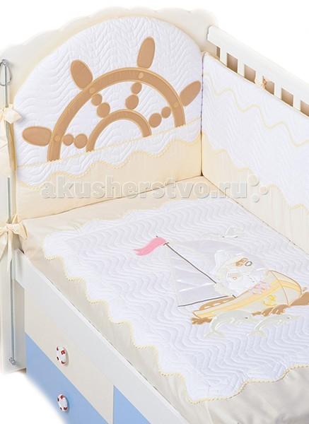 Комплект в кроватку Селена (Сдобина) Морячок (7 предметов)Морячок (7 предметов)Комплект в кроватку Морячок 7 предметов Сдобина  Одеяло – 110х140 - (бязь — хлопок 100 %; наполнитель - холлофайбер)  Подушка – 40х60 - (бязь — хлопок 100 %; наполнитель - холлофайбер)  Бампер – раздельный - 4 части (360см), съемный чехол - (сатин — хлопок 100 %; наполнитель - холлофайбер)  Балдахин - тюль (сетка) с отделкой из х/б ткани – (стандарт 500х170)  Пододеяльник – 112х142 - (сатин — хлопок 100 %) Простынка с резинкой - (сатин — хлопок 100 %)  Наволочка – 42х62 - (сатин — хлопок 100 %)<br>