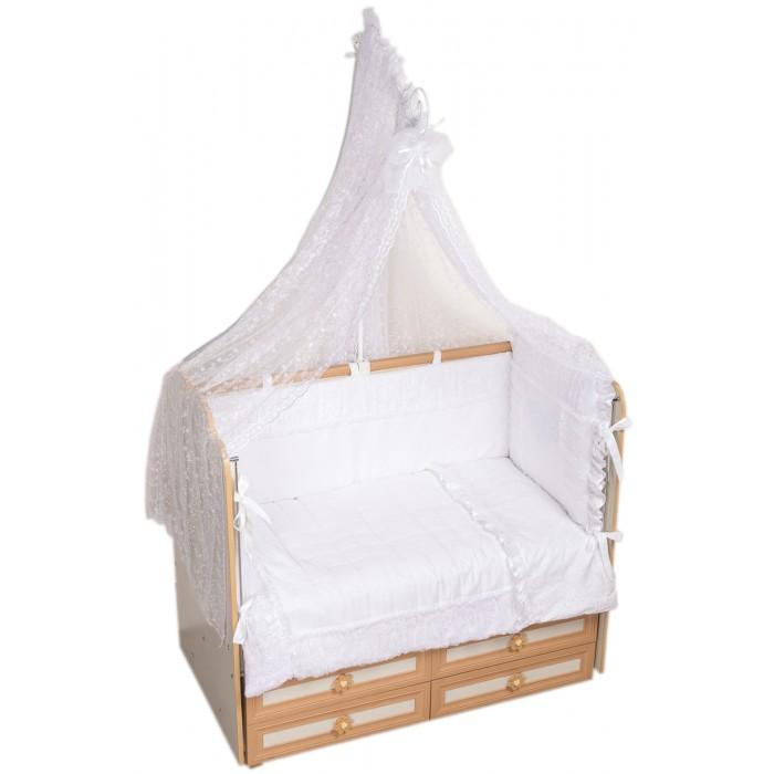 Комплект в кроватку Селена (Сдобина) Нежность (7 предметов)Нежность (7 предметов)Комплект Нежность состоит из 7 предметов, которые изготовлены из высококачественных материалов, приятных для тела. Он подарит ребенку здоровый и полноценный сон.  В комплекте: 1. одеяло стеганное 110&#215;140 (состав: сатин-хлопок 100%, наполнитель холлофайбер); 2. подушка 40&#215;60 (состав: бязь-хлопок 100%, наполнитель холлофайбер); 3. бампер раздельный 360 см, 4 части (состав: сатин-хлопок 100%, наполнитель холлофайбер); 4. балдахин тюль (вышитая сетка, стандарт 500&#215;170); 5. простынка на резинке (ткань: сатин-хлопок 100%); 6. наволочка 42&#215;62 (ткань: сатин-хлопок 100%); 7. декоративная подушка — сердечко (сатин — хлопок 100%, наполнитель — холлофайбер).<br>