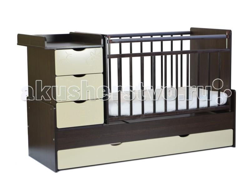 Кроватка-трансформер СКВ Компани СКВ-5 Жираф маятник поперечныйСКВ-5 Жираф маятник поперечныйКроватка-трансформер СКВ Компани СКВ-5 Жираф маятник поперечный  Кроватка этой модели хороша тем, что она имеет множество функций, которых нет в других детских кроватях. Помимо основного спального места, у кроватки имеется специальный пеленальный столик, на который можно посадить малыша и помимо пеленания можно его переодеть или собрать на прогулку. У кроватки есть 4 ящика, в которых вы сможете хранить все необходимые детские вещи и принадлежности. Механизм раскачивания – поперечный маятник. Стенка кроватки опускается для того, чтобы более эффективно ухаживать за ребёнком.  Экономичная кровать с поперечным маятниковым механизмом и вместительными ящиками для хранения.  Фасады из крашеной МДФ с забавной фрезеровкой в виде жирафа. Пеленальный стол с ограждениями стал гораздо удобнее, за счёт увеличения размера столешницы.  Поперечный маятниковый механизм осуществляет движение кровати вправо-влево. При необходимости маятниковый механизм можно зафиксировать стопорами.  Ложе: двухуровневое Ящик: есть Маятник поперечный: есть Механизм опускания: есть Накладка ПВХ: есть Комод: 50 х 60 см Пеленальный стол: есть Комод: 3 ящика<br>