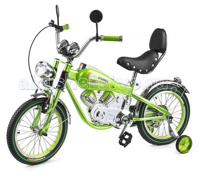 Велосипед двухколесный Small Rider Motobike VintageMotobike VintageВелосипед двухколесный Small Rider Motobike Vintage выглядит завораживающе и шикарно.  Это,скорее, коллекционный мотоцикл в уменьшенном размере. Все в нем сверкает, блестит и переливается, подчеркивая дороговизну каждого элемента.  Стилизация поражает правдоподобностью - мотор, бензобак, спидометр, амортизаторы, сиденье с клепками, фонарь, зеркальца - все как у настоящего мотоцикла!  Особенности: Несмотря на свое великолепие, Мотобайк Винтаж имеет традиционный функционал детского велосипеда и легко приводится в движение с помощью педалей. В комплекте идут поддерживающие колесики, которые помогут ребенку привыкнут к велосипеду и научиться одновременно рулить и крутить педали. Он подойдет детям уже с 4-х лет. Small Rider Motobike Vintage - отличный вариант, чтобы научиться кататься на велосипеде, причем сделать это с шиком, вызвав удивление и белую зависть в парке или на детской площадке! За безопасность, опять-таки, отвечают дополнительные съемные боковые колесики, а также два тормоза: ручной и ножной. Помимо эстетического удовольствия от взгляда на велосипед и обладания им, Мотобайк Винтаж еще и комфортно водить. Надувные резиновые колеса 16-радиуса на спицах бесшумно и плавно катятся, комфортное большое мягкое сиденье имеет еще и спинку! Высота сиденья может регулироваться под рост Вашего ребенка. Тип колес: 16 радиус, резиновые на спицах Дополнительные колесики:пластиковые, для обучения Привод: классический, педальный Тормоз: ручной и ножной Сиденье: мягкое, кожзам, длинное со спинкой Регулировка сиденья по высоте Высота от земли до сиденья: 50-63 см Размеры: 122х53х70 см<br>
