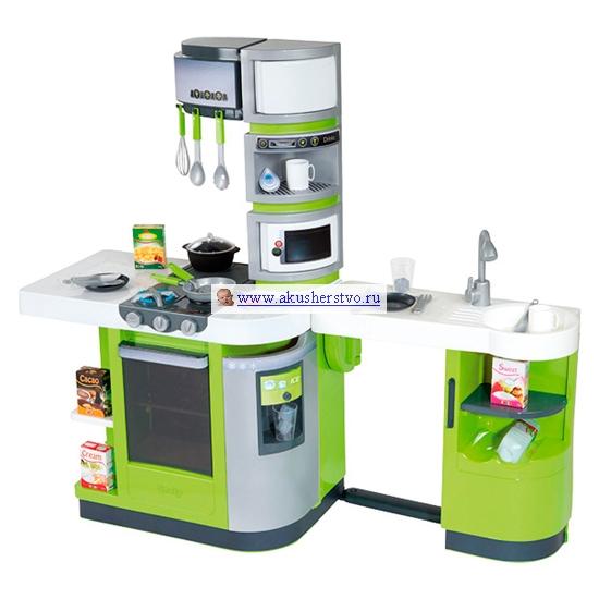 Smoby Кухня электронная Cook MasterКухня электронная Cook MasterSmoby Кухня электронная Cook Master отличаются от остальных моделей увеличенными габаритами. Однако отличия далеко не только в размерах, сколько в их функциональном оснащении. Этим же игровые кухни во многом и отличаются друг от друга.   С яркой и функциональной электронной кухней Cook Master игры детей станут еще более интересными и увлекательными. Каждая маленькая хозяюшка мечтает о такой роскошной игрушке. Здесь есть все для приготовления и хранения пищи – большая рабочая поверхность, множество полочек и ящичков, плита, холодильник и даже напольный выдвижной шкаф.  Особенности: При включении газовой или электрической плиты, конфорки при помощи кнопок подсвечиваются красным и синим цветом.  Плита воспроизводит звуки жарки, кипения воды и даже звуки поварского шума. Кухня предусматривает несколько вариантов сборки: поставить ее можно будет как к стене, так и в открытом доступе с 2-х сторон. Выдвигающаяся столешница поможет сэкономить место. Открывающаяся духовка, открывающаяся дверца холодильника, микроволновая печь, раковина.  На варочной панели предусмотрена и газовая горелка (при повороте выключателя вверх поднимаются вставки имитации горения газа), и электронная. Многочисленные полочки и крючки. Большое игровое пространство.  В комплекте: кастрюлька сковородка 2 тарелки бутылочка молока 4 продуктовые упаковки 2 стакана 2 чашки множество столовых приборов сливки к кофе  кубики льда<br>