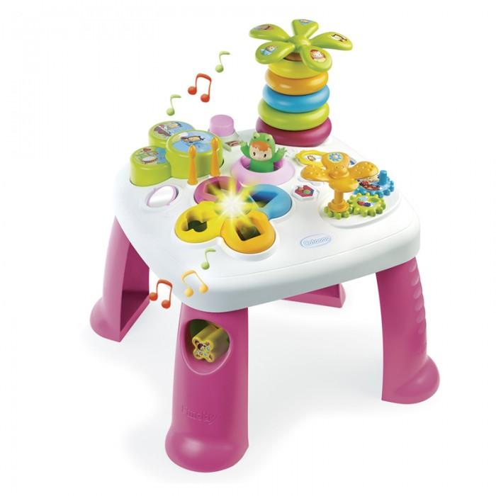 Игровой центр Smoby Развивающий стол CotoonsРазвивающий стол CotoonsРазвивающий стол Smoby Cotoons со световыми и звуковыми эффектами — лучшее средство для комплексного и полноценного развития детей младшего возраста.   На этом столике есть целая куча самых разных игрушек и развивающих упражнений.  Здесь есть большая пирамидка в форме пальмы, музыкальный барабанчик с палочками, крутящиеся шестеренки, сортер и многое другое.   Все игрушки являются частью столика и, соответственно, нет вероятности, что ребенок потеряет их.   Электронный сортер  Разноцветная пирамида в виде пальмы  Wabap может прыгать!  Барабаны с 2 палочками  Крутящиеся шестеренки  Зеркальце Размер: 47х47х49 см Качественный, безопасный пластик выглядит красиво и показывает себя прочным и надежным в использовании.  Тип батареек: 2 х LR44.<br>